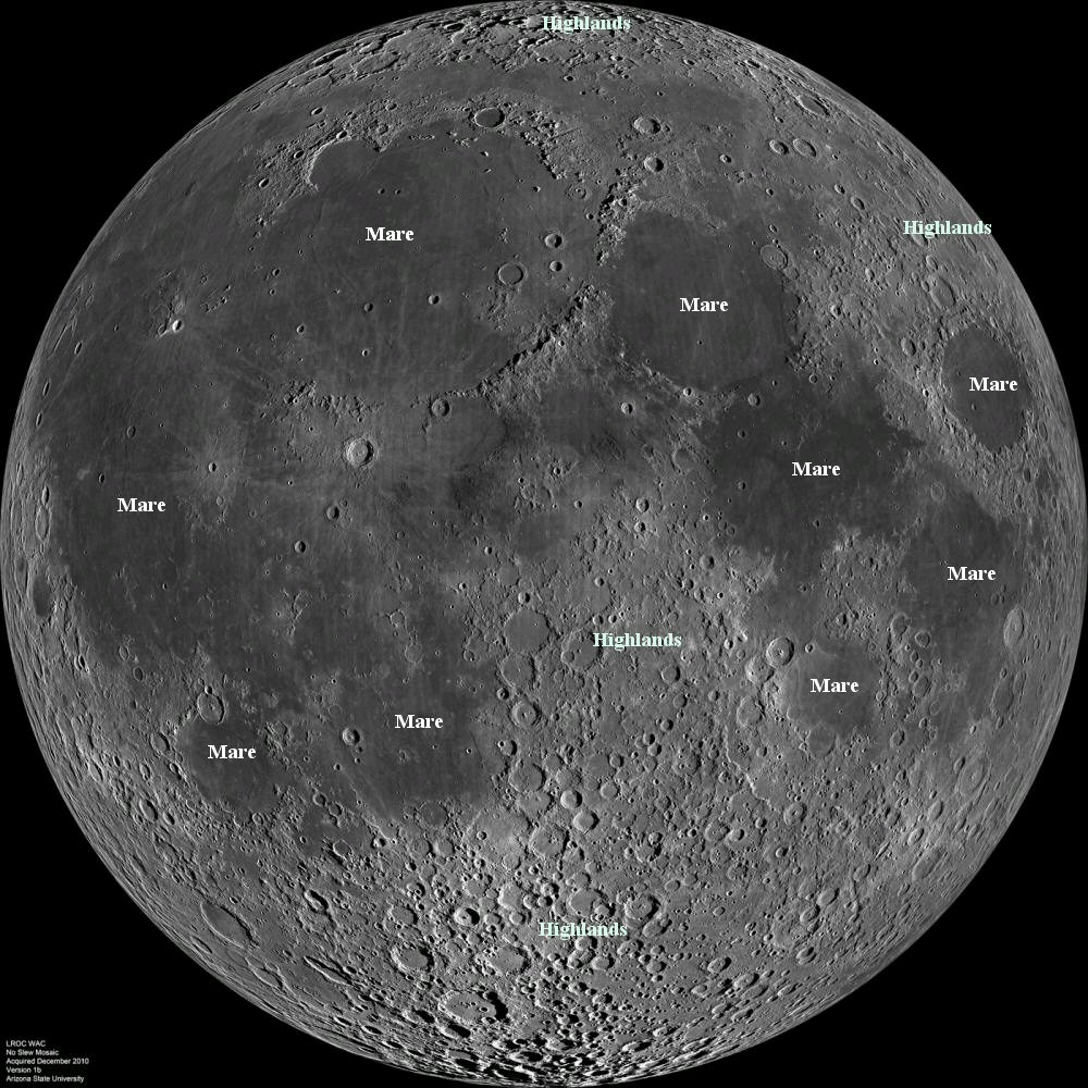 "Fig. 1: the near side of the moon, a mosaic of images captured by the Lunar Reconnaissance Orbiter. Several mare and highlands are marked. We now know that the maria (Latin for ""seas"", which is what early astronomers actually thought they were) were wiped as clean as a first-period chalkboard by lava flows some 3 billion years ago."