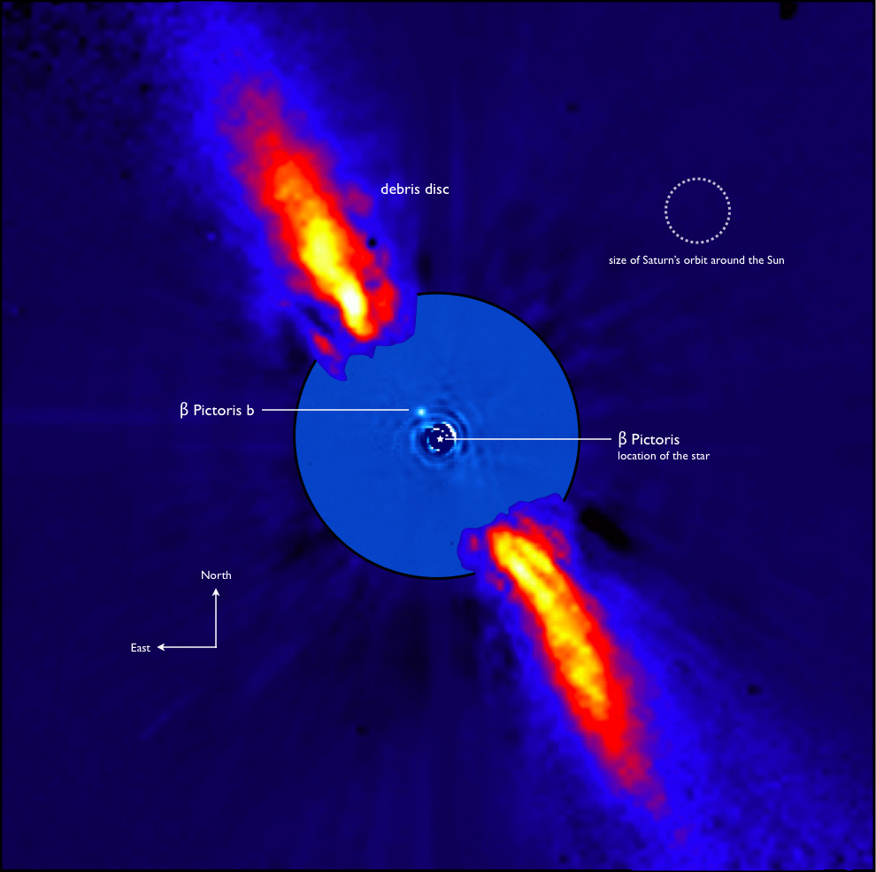 Fig 1: Composite image of the β Pic disk (observed with ADONIS on ESO's 3.6 m telescope) and the planet β Pic b (observed with VLT/NACO).