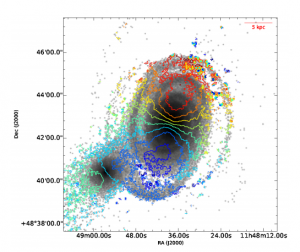 Figure 3. Maps of the zeroth moment stellar components of the interacting pair with velocity contours overlaid.