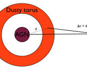 Geometry for the AGN reverberation distance method.  The active galactic nucleus (AGN) clears dust out near it, creating a torus of dust around it.  This torus re-emits light it absorbs from the AGN at a time delay given by the distance d to the torus over the speed of light c.