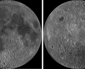 The near side (left) and far side (right) of the Moon. The far side has very little maria due to its thicker crust. Images from Wikipedia.