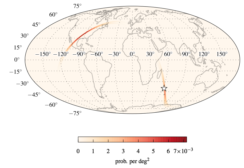 An example of a bimodal sky map for a 2015 detector scenario. The map is fixed to the Earth just as the detectors are. The darkest red pixels represent the most likely directions to look for an electromagnetic signal. The star represents the actual direction of the simulated source.