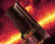 An artist's impression of the Spitzer space telescope as it images the galaxy.