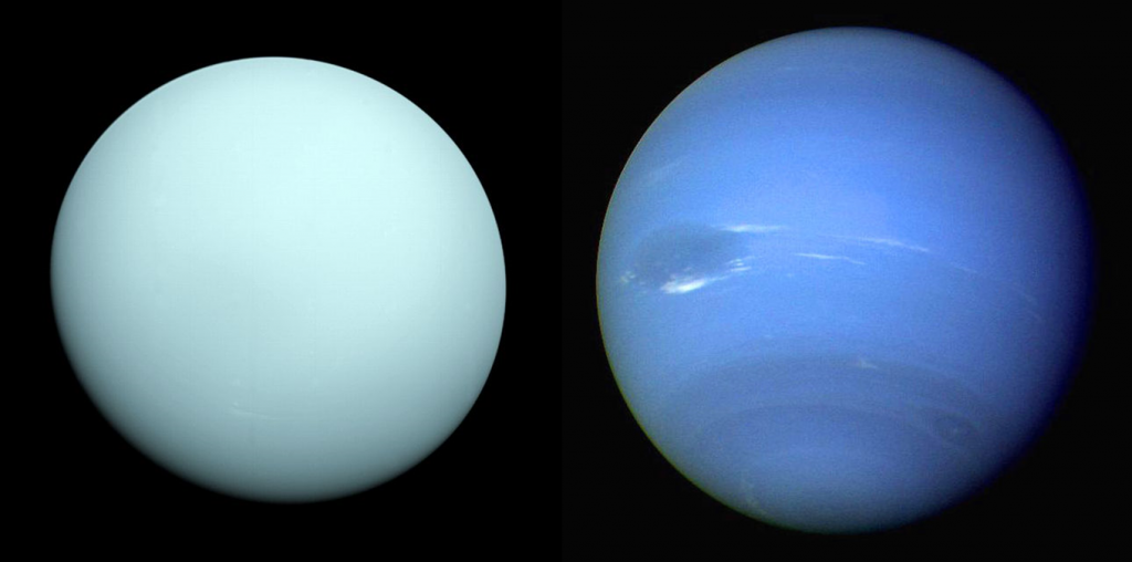 Uranus and Neptune, the Solar System's ice giant planets. (Images from Wikipedia.)