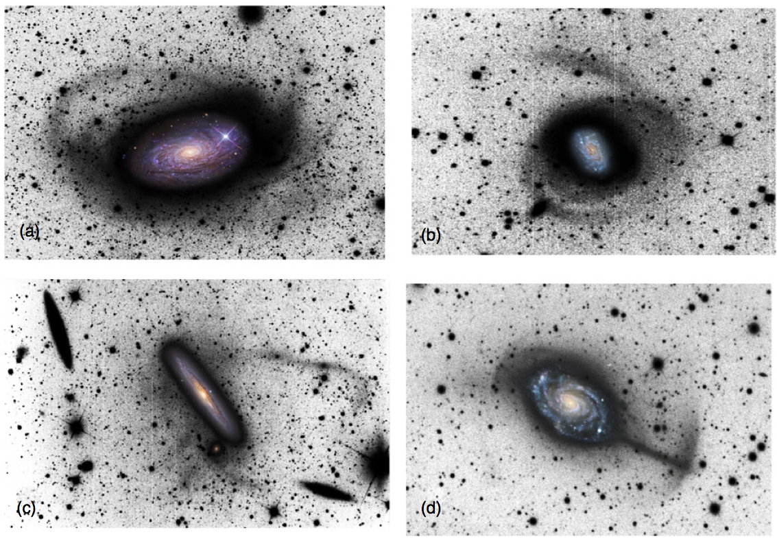 Figure 1. Long-exposure images of faint tidal streams around massive galaxies (images from the study by Martinez-Delgado et al.). These are remnants of previous mergers. The colored inset image has been added for reference.
