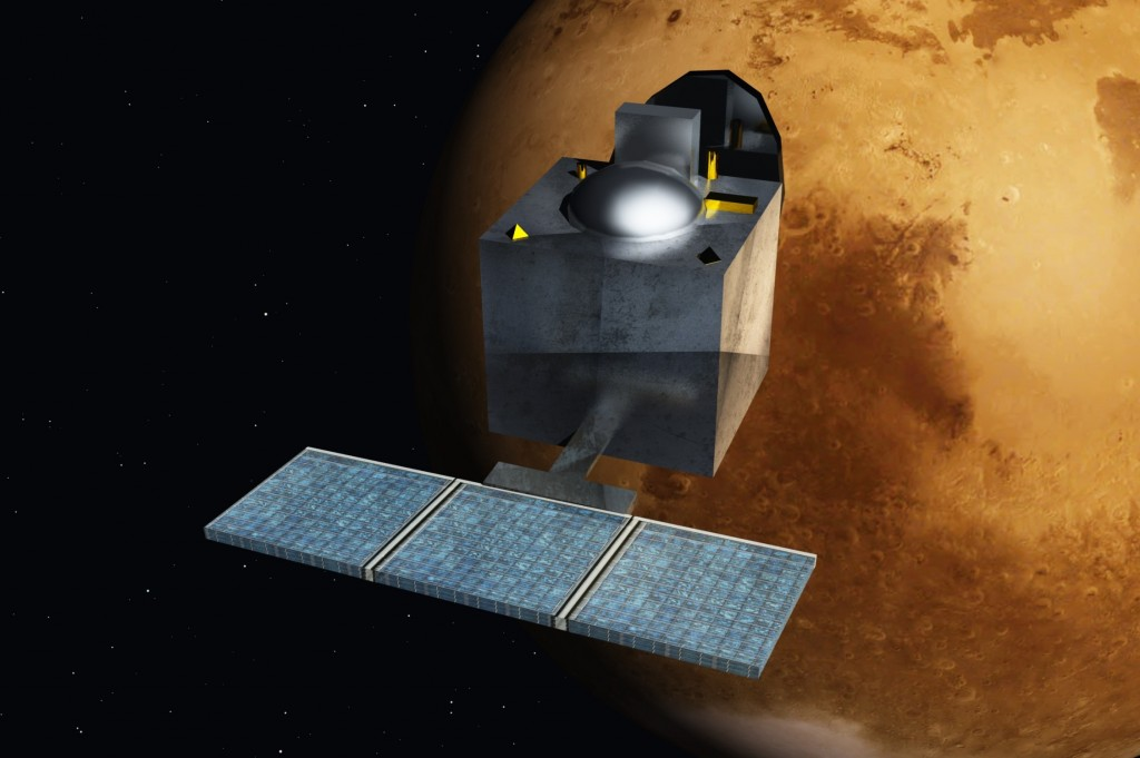 An Artist's rendition of the Mars Orbiter Mission near Mars. Hopefully, this is what the satellite will look like tomorrow!