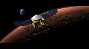 An artist's rendering of MAVEN in orbit around Mars. Earth NOT to scale.