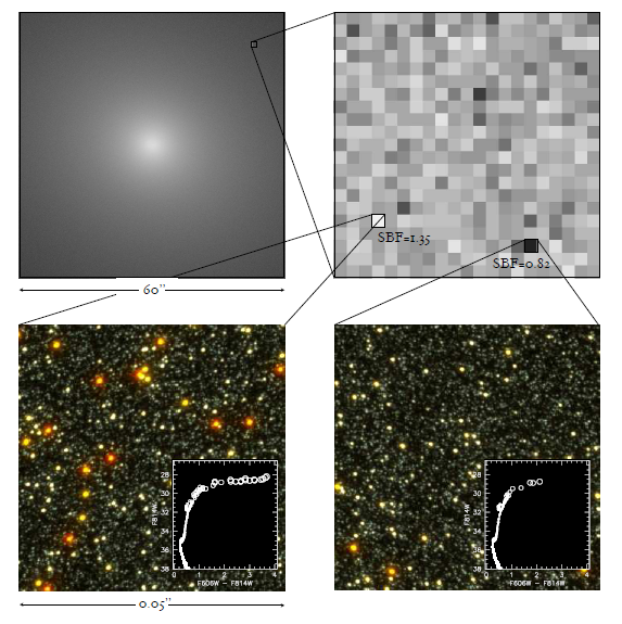 The top panel shows brightness \textit{variations} in a model elliptical galaxy based on the observed light distribution of NGC 4472. The bottom panel shows a bright (left) and a faint  (right) pixel, while the inset figures are color versus magnitude diagrams of the stars in these pixels. The bright pixel contains many more bright giants than the faint pixel. SBF stands for surface brightness fluctuation.