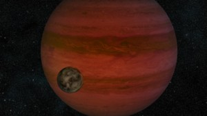 Artist's conception of an exoplanet and its moon. (NASA/JPL-Caltech)