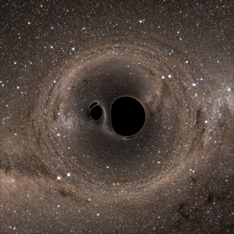 Fig. 1: A binary black hole merger with the Milky Way Galaxy in the background.