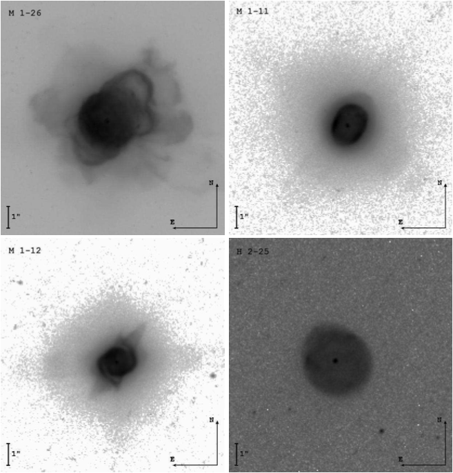 Images of four similar planetary nebulae taken by the Hubble Space Telescope using a narrow Hα filter. All of these have H-rich central stars.
