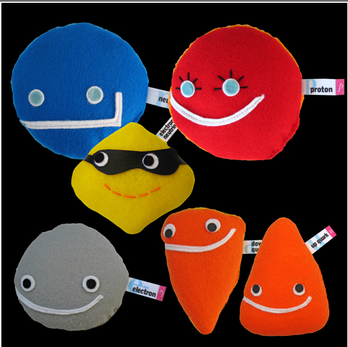 The Everyday Matter collection from the Particle Zoo including a Neutron, Proton, Electron, Up Quark, Down Quark, and Electron-neutrino.