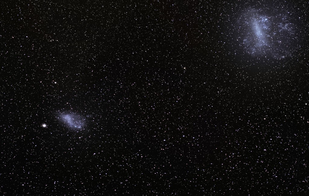 Figure 1: An optical image of the large and small magellanic clouds. (Source:
