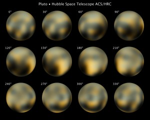 Hubble images of Pluto, taken at different times over a Plutonian day.