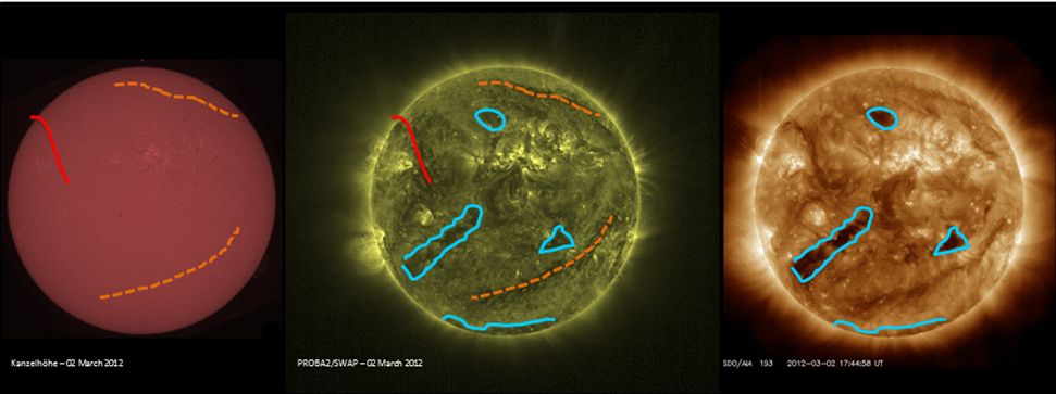 Figure 2. Images of the Sun in three different wavelengths, with highlighted areas around coronals holes and filament channels. The holes are outlined in blue while the channels are highlighted in red and orange. Original image from here.