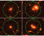 Radio-quiet AGN from the  CDFS catalogue. Low X-ray power (top) and high X-ray power (bottom) are shown, along with those galaxies classified as non-mergers (left) and mergers (right). Originally figure 3 in Chiaberge et al. (2015).