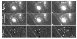 "HST WFC3-IR images showing the appearance of four point sources around a galaxy in the MACS J1149.6+2223 cluster. The point source is believed to be an SN nicknamed ""Refsdal"". The top row is the archival WFC3-IR imaging from December 5, 2010 through March 10, 2011. The middle are composite images from November 3-11, 2014 (left), November 20, 2014 (middle), and November 10-20 (right) that show four point sources that were not present in older images."