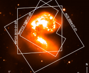 Fig. 1: HST image of the Antenna galaxies (NGC 4038/4039)  overlaid on an image from a ground-based CTIO telescope.  The image shows three snapshots taken by HST during 1996, 2004 and 2010.