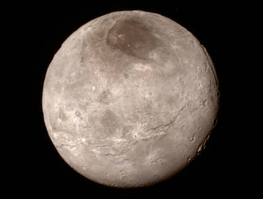 Charon, Pluto's largest moon, imaged by New Horizons just before it's closest approach. Image from NASA.