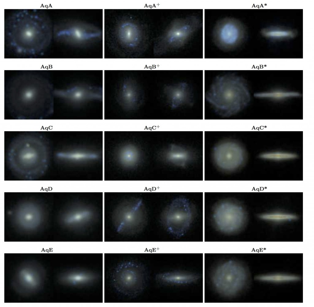 Fig. 2 - Post-processed images of the simulated galaxies. The colors are produced using model stellar light from each star particle. The three columns represent three different codes chosen to run the simulation.