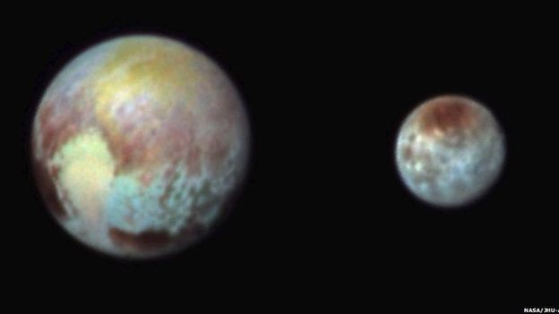 Stretched colour image of Pluto (left) and Chandra (right) to show surface features. Image from NASA.