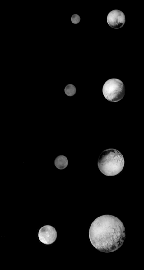 Pluto and Charon get clearer as New Horizons approaches it's final destination. Images from NASA / JHUAPL / SwRI / Emily Lakdawalla