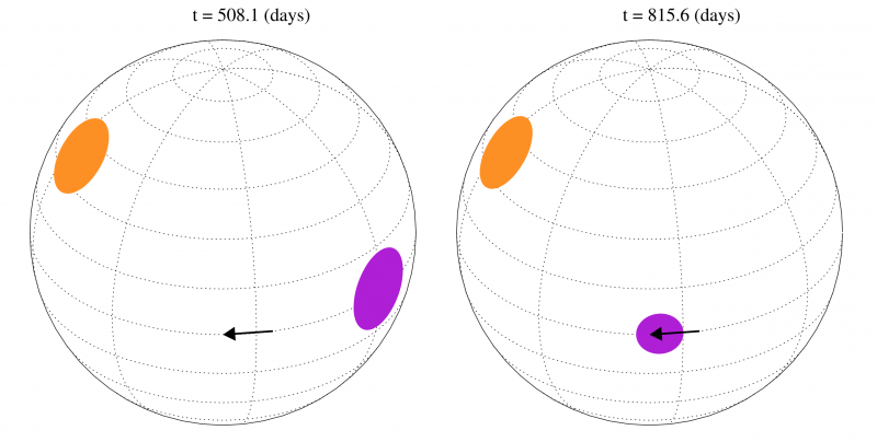 Figure 2: A schematic illustration of the the primary (orange), and secondary (purple) star spot features at two points in time. The primary feature is long-lived and evolves slowly, while the secondary feature evolves in both phase (moves in longitude), and size. Each feature could be a single large spot, or a large group of smaller spots. Upper part of Figure 4 from the paper.