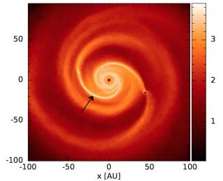 Triggered fragmentation in self-gravitating disks