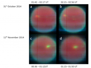 Detailed maps of Uranus' clouds shown in false color images. The red color corresponds to a deep cloud deck, the yellow color to an intermediate cloud deck and the blue to high hazes in the atmosphere. The cloud is clearly changing as a function of time. From October to November, the cloud becomes more extended and loses it's faint red center. This means that over time, the cloud became more vertically extended.