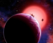 Artist impression of GJ 1214. (Image by David A. Aguilar) Source: http://smithsonianscience.si.edu/2010/12/super-earth-has-an-atmosphere-but-is-it-steamy-or-gassy/