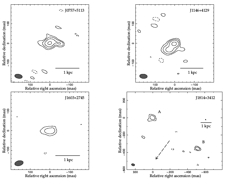 Fig. 1: Radio contour images of the four observed hot DOGs at 1.7 GHz. THe bottom right object shows a symmetric double structure, which is believed to originate from radio emission produced by a symmetric, bipolar outflow driven by an AGN.