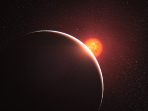 Artist's impression of a super-Earth orbiting a small cool star. Credit: ESO/L. Calçada