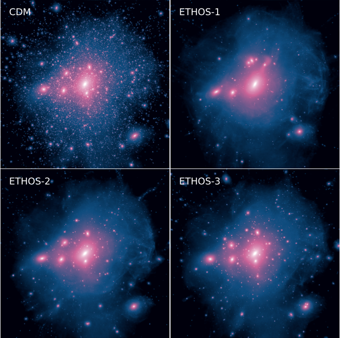 Figure 2. Density maps of a high-resolution simulation of a Milky Way-mass halo for the four different dark matter models the authors considered. One can see that with a higher self-interaction cross section, there are fewer satellite halos.