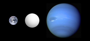 Size comparison of Super-Earth COROT 7-b with Earth and Neptune. Image Credit: