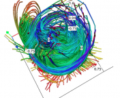 Figure 3: Magnetic field lines of the off-center pulse after several minutes. These lines have become much more chaotic.