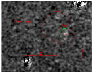 Also Figure 3 of the paper, this shows the location of the fifth image, SX, anticipated by three of the lens models (circled) as well as the actual location, indicated by a cross.