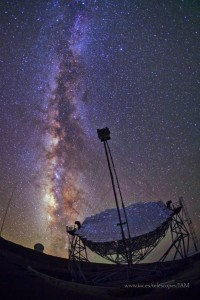 One of the MAGIC telescopes with the Milky Way in the background.