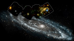 NuSTAR image of Andromeda, inset on a UV image by NASA's Galaxy Evolution Explorer. Click for a better look! [NASA/JPL-Caltech/GSFC]
