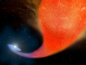 Artistic depection of the birth of a blue straggler star. Illustration credit: NASA/ESA, A. Feild (STScI)