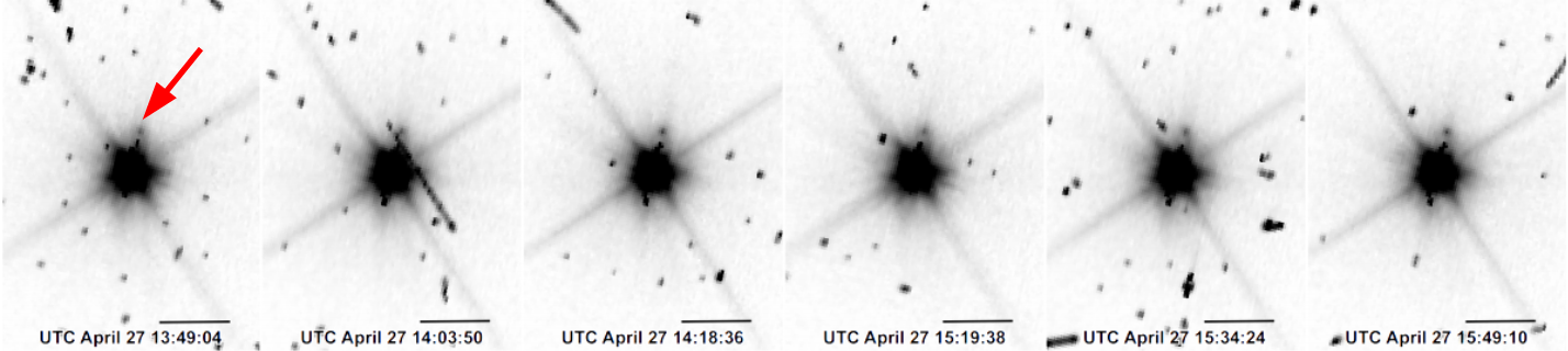 Figure 1: Six images obtained by Hubble showing the newly discovered makemakean moon (indicated by a red arrow on the first image). Makemake was the only trans-Neptunian dwarf planet without a known moon.