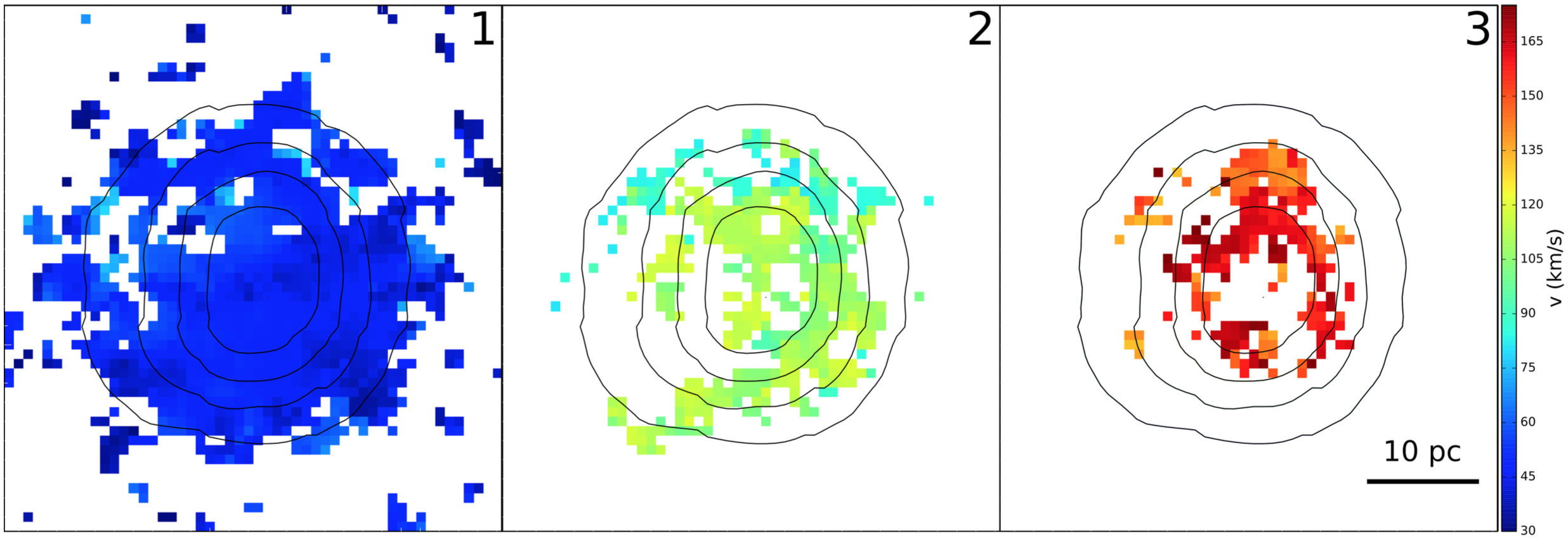 Figure 2. Maps of the three expanding bubbles detected towards the star cluster, corresponding to the three pairs of peaks in the spectrum in Figure 1. Each pixel is color coded by the bubble's expansion velocity at that location. The expansion velocity of the bubbles decreases as size increases, just as a bubble should slow as it expands into surrounding gas. Contours outline where H-alpha emission has constant brightness, increasing to smaller contours.