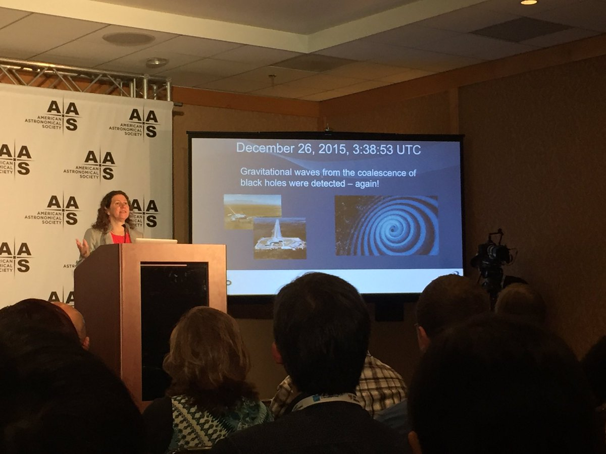 Gabriela Gonzalez presenting the results from LIGO's first observing run.