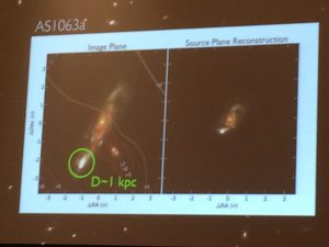 "A high-redshift galaxy which is ""gravitationally lensed"" by a large cluster is shown to the left. The right image shows how big it would look without the magnification. [Slide by Greg Walsh]"