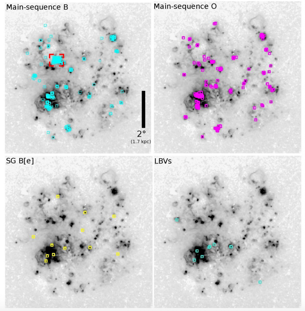 Figure 1: The H-alpha image of the Large Magellanic Cloud (grey). Locations of four types of stars (B, O, blue supergiants and Luminous Blue Variables) are shown as colored circles.