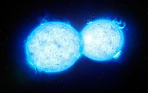 Figure 1: An artist's rendition of the hottest and most massive contact binary. From: By ESO/L. Calçada - http://www.eso.org/public/images/eso1540a/