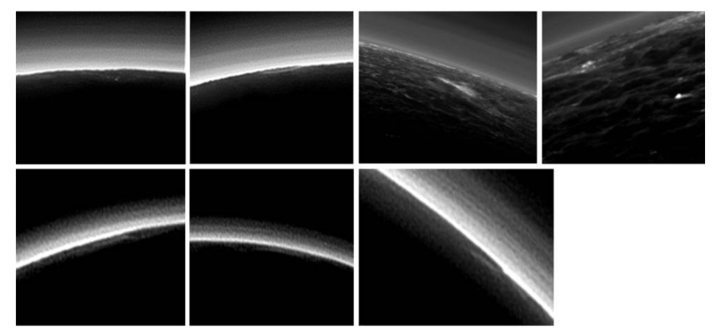 Seven possible clouds in Pluto's atmosphere. Image credit: NASA/JHUAPL/SwRI