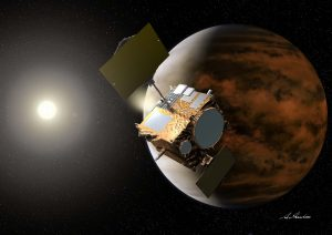 "Artist's illustration of the ""Akatsuki"" mission to Venus. [JAXA]"