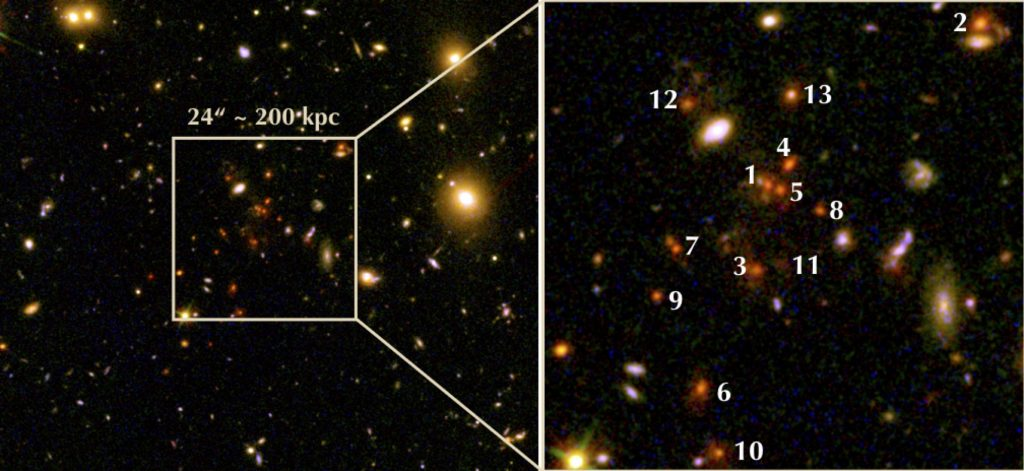 Figure 2: Hubble view of the cluster ClJ1446. The highlighted, very-red galaxies are in the distant cluster, while the rest are probably part of the foreground.