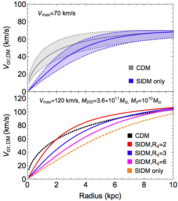 Figure 1. The range of rotation curves an SIDM halo with varying concentrations and baryons.