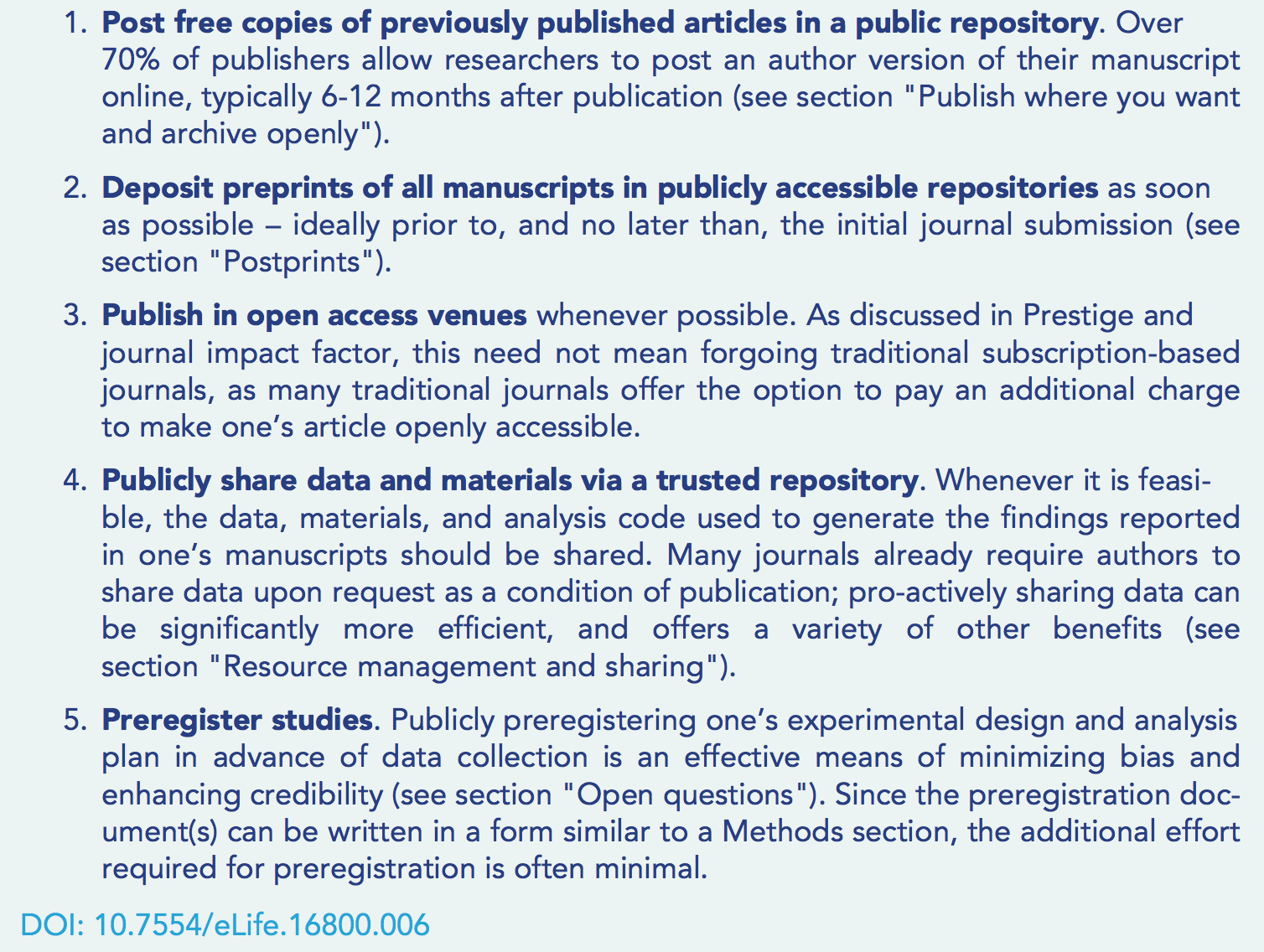 Figure 2. What you can directly do to engage in open scholarly practices with minimal effort. [Box 1 in the paper]